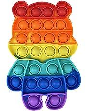 Rainbow Bubble Sensory Fidget Toys,Push Pop Bubble Fidget Sensory Toy Stress Relief Anti-Anxiety Tools for Adult Kids (Bear - Colorful, 4.9x3.9x0.6inch)