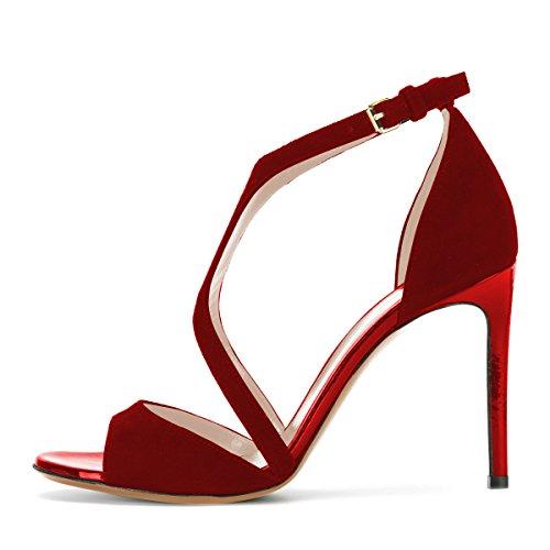 Nouvelle decontractee peep-toe pour Femme Sexy Stiletto Sandales a talons hauts en ete bleues taille 37 fAnVd