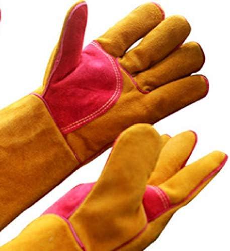 XinLin Du 溶接手袋-耐熱性と耐摩耗性-ティグ/ミグ溶接機/暖炉/バーベキュー/ガーデニング/グリル/ストーブ用(16インチ、赤金)2ペア (Color : Gold, Size : L)
