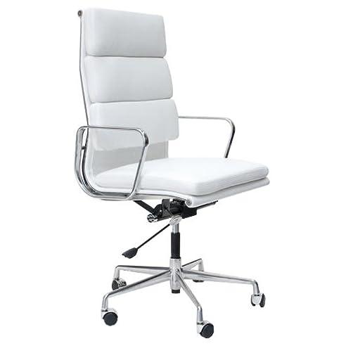 Bürostuhl weiß leder  Charles Eames EA219 Bürostuhl aus Leder, gepolstert, Weiß: Amazon ...