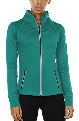 (icyzone Women's Running Shirt Full Zip Workout Track Jacket with Thumb Holes (M, Baltic))