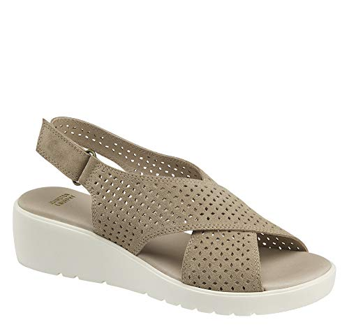 Johnston & Murphy Womens Cecilia Open Toe Casual, Taupe Suede, Size 7.0