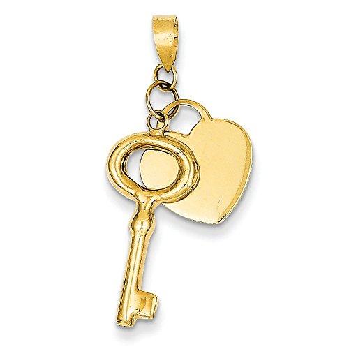 Or 14 carats Cœur avec pendentif en forme de clé ronde-JewelryWeb 3D