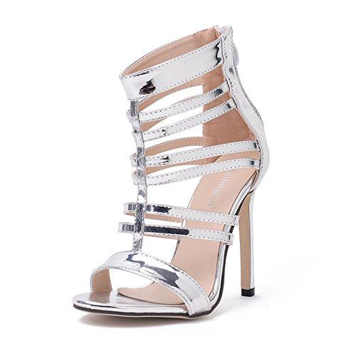 alti argento di ZHZNVX con nuovo i tacchi cinturino pelle con verniciata fine alti In bocca sandali tacchi pelle verniciato alti 39 pesce tacchi sexy scarpe primavera OwOTSnxRr