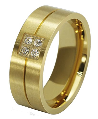 [Mens Rings Stainless Steel Classic Cubic Zirconia Golden Wedding Bands 8MM Size 11 by Aienid] (Lord Of The Rings Costumes Aragorn)