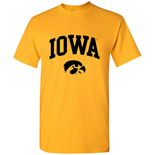 2019 Mississippi State Quarter - Iowa Hawkeyes Arch Logo T-Shirt - Small - Gold