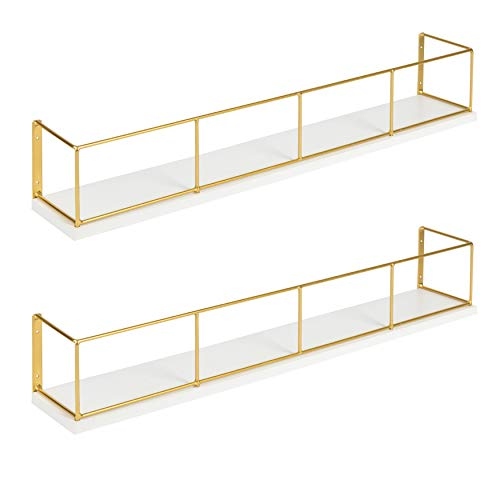Kate and Laurel Benbrook 2-Pack Wood and Metal Floating Wall Shelves 24 inch White and Gold ()