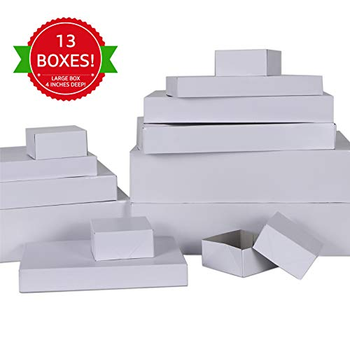 MOMONI Premium 13 Piece White Gift Boxes with Lids of Assorted Sizes with 4 inch Deep Robe Boxes- Perfect Wrapping Boxes Set Christmas Gift Boxes for Wrapping Christmas Gifts, Birthday, Holiday