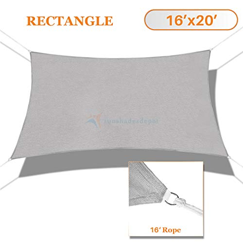 Sunshades Depot 16' x 20' Solid Light Grey Sun Shade Sail Rectangle Permeable Canopy Customize Commercial Standard 180 GSM HDPE ()