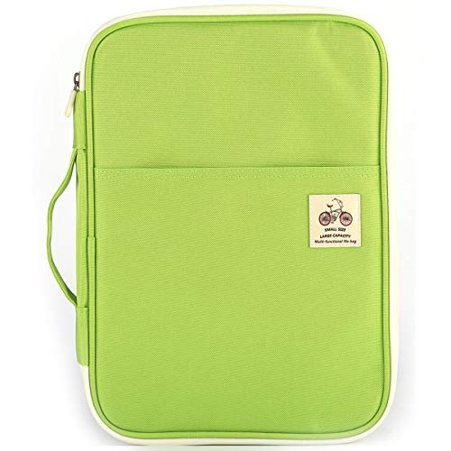 JAKAGO Travel Portfolio Waterproof Oxford Fabric Carrying Case Pad Holder Sleeves Business Portfolio Resume Padfolio Passport & Travel Document Holder and Organizer with Zipper Closure (Green)