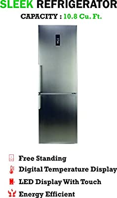 10.8 Cu. Ft. Tall Bottom Mount Frost-Free Apartment Refrigerator in Stainless Steel with Led Touch Control Panel