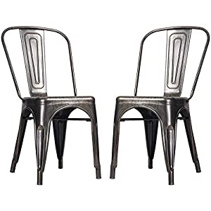 Merax Metal Dining Chairs High Back Stackable Kitchen Industrial Vintage Side Chairs Set of 2 (Black Golden)