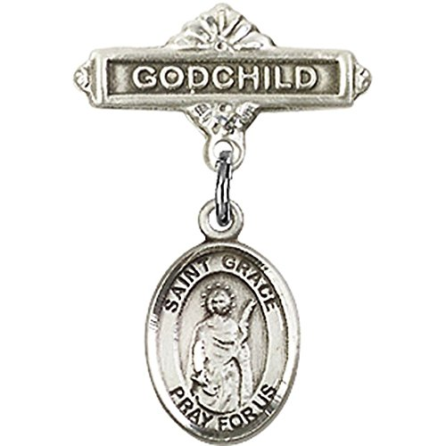 Sterling Silver Baby Badge with St. Grace Charm and Godchild Badge Pin 1 X 5/8 inches by Unknown