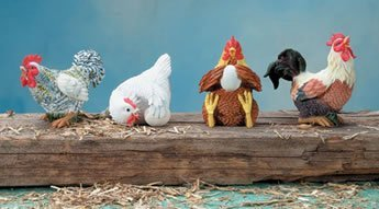 Set of 4 Resin Posing Chicken and Roosters with Eggs Statue Figurine