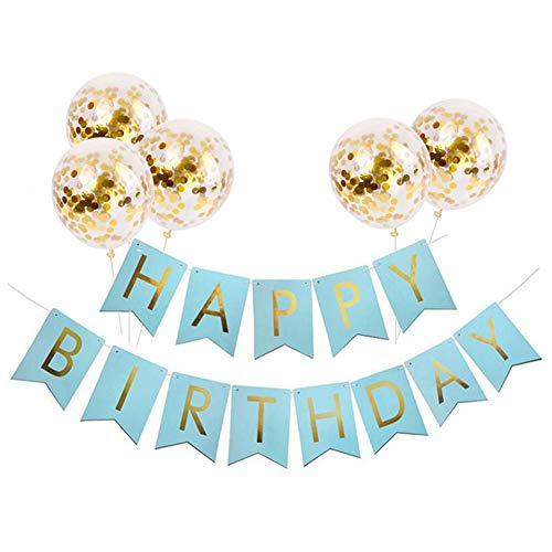 Birthday Banner - Tellpet Light Blue HAPPY BIRTHDAY Banner with 5 pcs Gold Confetti Balloons