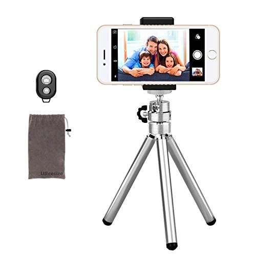 Phone Camera Tripod, UBeesize Compact Aluminum Tripod with Wireless Shutter Remote and Universal Phone Mount, Lightweight Small Portable Tripod Stand Holder for Camera, Compatible iPhone
