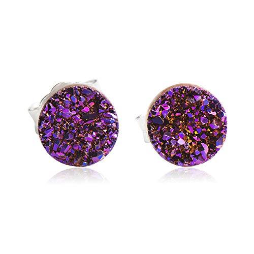CISHOP Crystal Druse Earrings Studs Round Dot Earrings Sterling Silver Hypoallergenic (Elegant Purple)