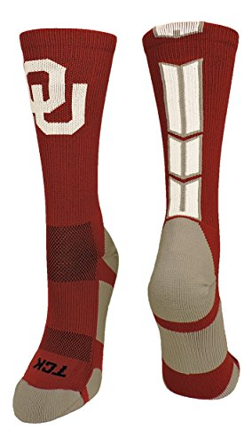 TCK Sports Oklahoma Sooners Baseline 3.0 Crew Socks (Crimson/Grey/White, Medium) ()