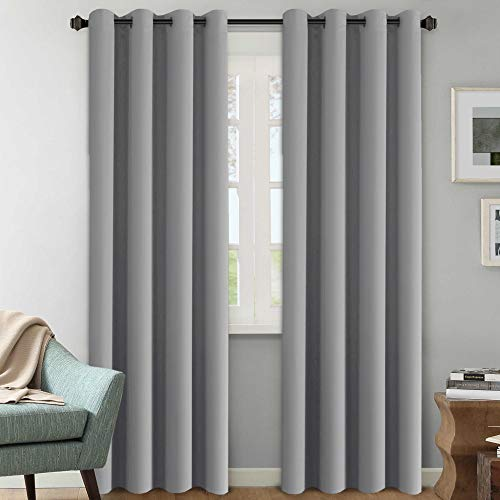 (H.VERSAILTEX Three Pass Microfiber Blackout Thermal Insulated Grommet Panels Window Curtains/Drapes (Set of 2,52 x 96 Inch,Dove Gray))