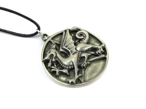 Creative Ventures Jewelry Pentacle of the Dragon Pewter Pendant on Cord Necklace, The Wiccan Collection