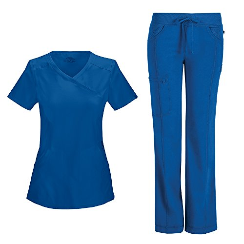 Cherokee Infinity Women's Mock Wrap Scrub Top 2625A & Low Rise Drawstring Scrub Pants 1123A Scrubs Set (Certainty Antimicrobial) (Royal - X-Small/Small Petite)