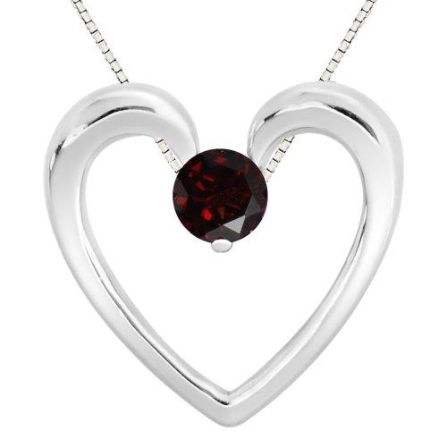 Sterling Silver 925 Round Garnet Heart Pendant Necklace, 18