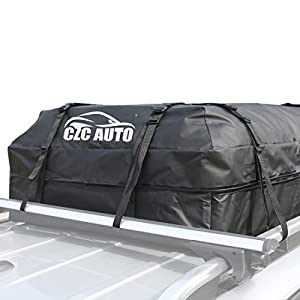 CZC AUTO Car Roof Cargo Carrier, 14.7 cu. ft Waterproof/Rainproof/Weatherproof Rooftop Storage Bag for Car SUV Van Sedan with 4 Roof Rails or Rack, Safe Steady Durable Soft, Easy to Install, Black