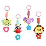 DOMIRE Baby Rattle Hanging Toys, 4 Pack Washable Infant Stroller Toys with Cute Wind Chime and Plush Squeak Crib Toys for Baby Boys and Girls