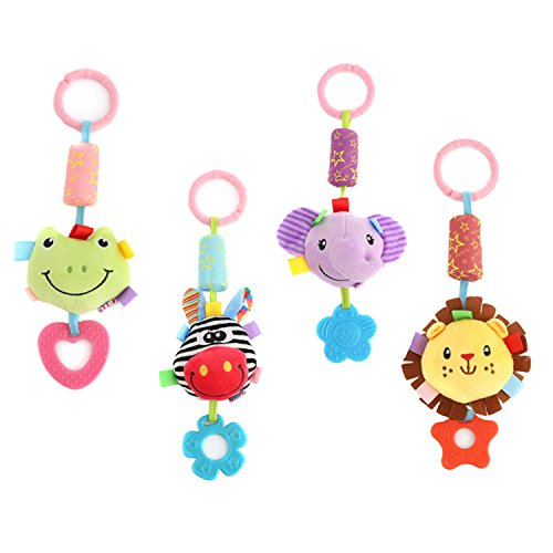 DOMIRE Baby Rattle Hanging Toys, 4 Pack Washable Infant Stroller Toys with Cute Wind Chime and Plush Squeak Crib Toys for Baby Boys and Girls by DOMIRE