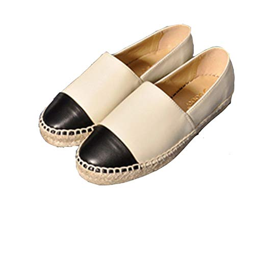 Casual Womens's Seasons JULY Genuine Fashion T Loafers Shoes Leather Comfortable Espadrilles Beige Flats w5Ivfxqd