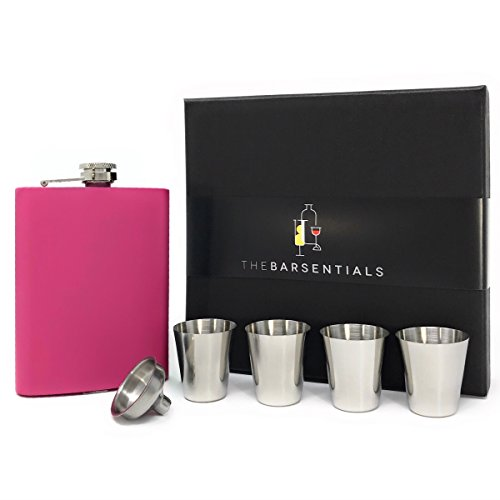 TheBarsentials Premium 8oz Hip Flask Leakproof Stainless Steel for Liquor with 4 Drinking Shot Glass Set and Funnel in Gift Box for Men and Women (Matte Pink) - Perfect for Christmas and Holidays (Monograms Mini Hip)