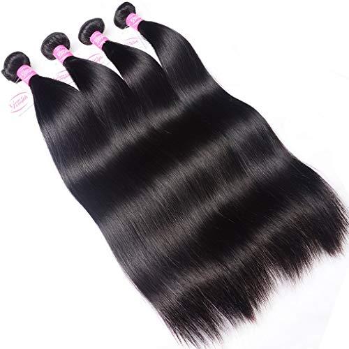 8A Remy Brazilian Virgin Hair Straight 24 26 28 30 inches Mink Human Hair 4 Bundles Deals Unprocessed Brazilian Straight Hair Extensions Natural Color Weave Bundles