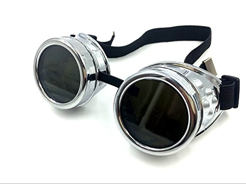 WEICHUAN New Sell Vintage Steampunk Goggles Glasses Cosplay Cyber Punk Gothic(Black) 3