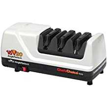 Chef'sChoice AngleSelect 1520 Diamond Hone Electric Knife Sharpener for 15 and 20-degree Knives 100-percent Diamond Abrasives Stropping Precision Guides, Manufactured in US, 3-Stage, White