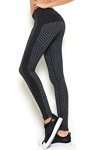 CrazyPM Women's Casual Yoga Pants Running Training Leggings Striped - L