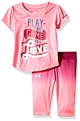 Under Armour Baby' Short Sleeve Tee and Legging Set, Pink Punk, 18 Months