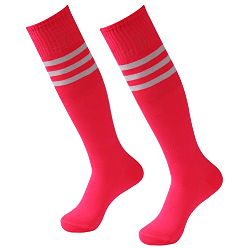 - Athletic Soccer Socks, 3street Wicking Moisture Long Compression Socks Running Extreme Cushion & Comfy For Men And Women Fit Basketball,Rugby,Baseball Hot Pink 2 Pairs