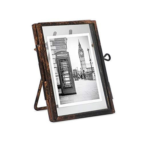Isaac Jacobs 2x3, Antique Bronze, Vintage Style Brass and Glass, Metal Floating Desk Photo Frame (Vertical), with Locket Closure for Pictures, Art, More