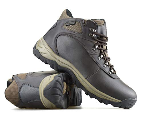 Ozark Trail Outdoor Equipment Men's Leather Hiker Waterproof Boots with Flex Midsole (Chocolate Brown, Size 7.5 US)