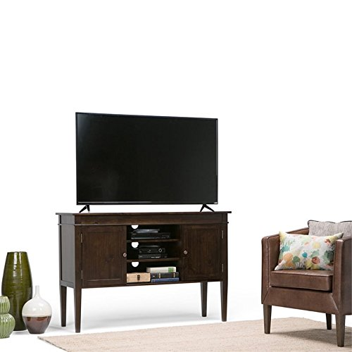Simpli Home Carlton Solid Wood Tall TV Media Stand for TVs up to 60'', Dark Tobacco Brown