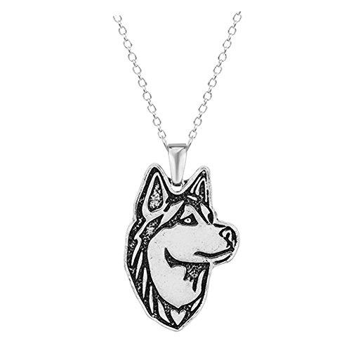 Sterling Silver Plated White Husky Alaska Dog Charm Animal Pendant Necklace