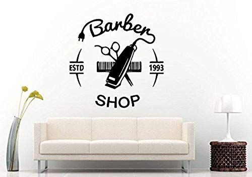 Wall Vinyl Decal Barber Shop Hair Clippers Brush Comb Scissors Tool Logo Sign Emblem Window Mural Room Vinyl Decor Sticker Home Art Print TT10691 ()