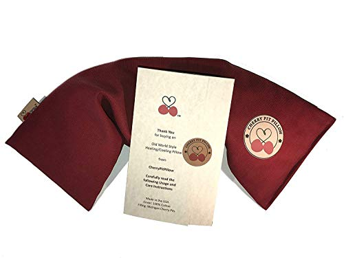 Old World Style Neck Cherry Pit Pillow in Henna Red - For Neck, Muscle, Joint, Stomach Pain, Menstrual Cramp - Soft Brushed 100% Cotton - Natural Cherry Stone Heat Pack Pad - Unique Gift - Made in USA
