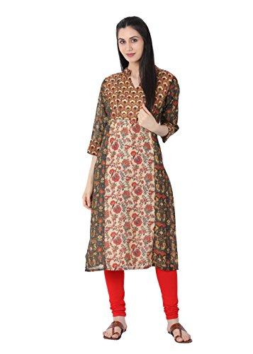 Lagi Designer Chanderi Straight Kurti for Women Printed Tunic Top Mandarin Collar 3/4 Th Sleeve Dress (L, (3/4 Sleeve Silk Tunic)