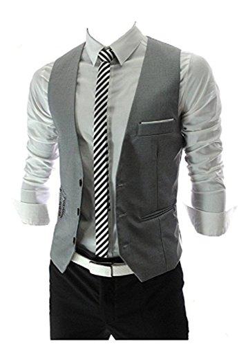 MARIR Men Vests Jacket Classic Style Slim Fit Business Waistcoat (Grey, M) by MARIR (Image #2)