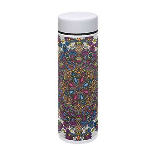 LORVIES Floral Coloring Stainless Steel Thermos Water Bottle Insulated Vacuum Cup Leak Proof Double Vacuum Bottle for Hot and Cold Drinks Coffee or Tea, Travel Thermal Mug,220 ml/ 7.5oz ()