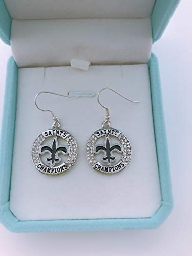 HASTTHOU NFL Team Dallas Cowboys Logo 925 Silver Plated Clear Crystal Diamond Polished Dangle Earrings for Fans (New Orleans Saints)