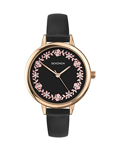 Sekonda Ladies Rose Gold Tone Watch Black Strap & Floral Stone Set Dial 2818
