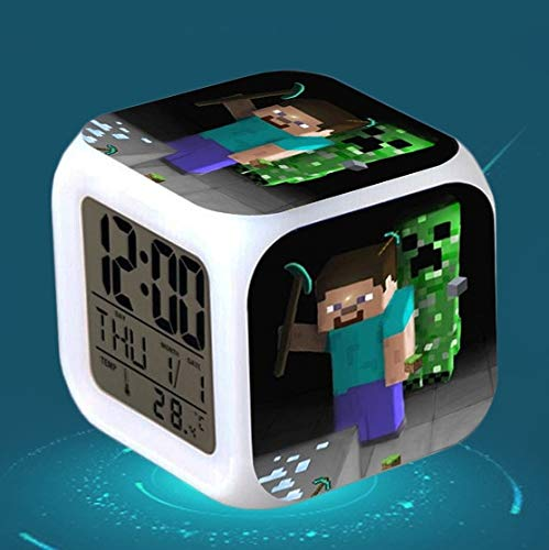 Amazon.com : HOKUGA: Digital Alarm Clock Kids reloj despertador Cartoon Minecraft TNT Colorful Glowing wekker Electronic Desk LED Clock Wake up Light ...
