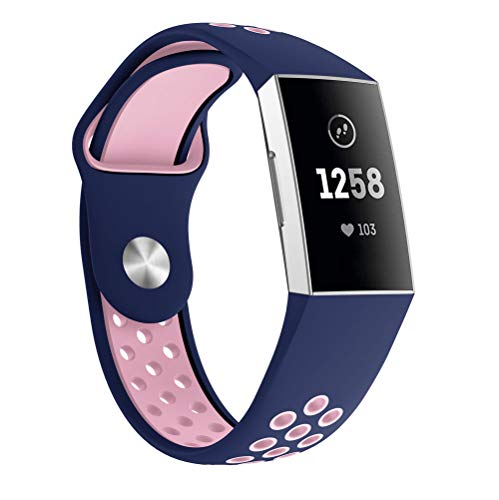 Leather Emboss Band Watch - Watch Band Strap,Adjustable Bracelet Strap Band For Fitbit Charge 3,Clearance New Fashion Sports Breathable Wristband Straps (Pink, 233mm)
